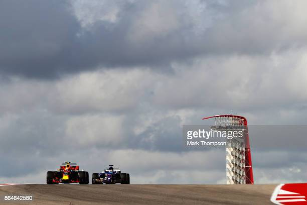 Max Verstappen of the Netherlands driving the Red Bull Racing Red BullTAG Heuer RB13 TAG Heuer leads Marcus Ericsson of Sweden driving the Sauber F1...