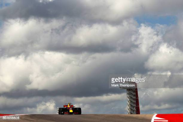 Max Verstappen of the Netherlands driving the Red Bull Racing Red BullTAG Heuer RB13 TAG Heuer on track during final practice for the United States...