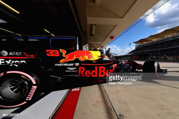 Max Verstappen of the Netherlands driving the Red Bull Racing Red BullTAG Heuer RB13 TAG Heuer leaves the garage during qualifying for the United...