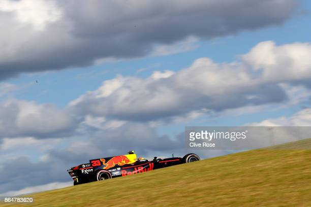 Max Verstappen of the Netherlands driving the Red Bull Racing Red BullTAG Heuer RB13 TAG Heuer on track during qualifying for the United States...