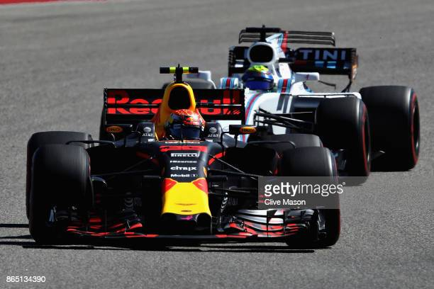 Max Verstappen of the Netherlands driving the Red Bull Racing Red BullTAG Heuer RB13 TAG Heuer on track during the United States Formula One Grand...