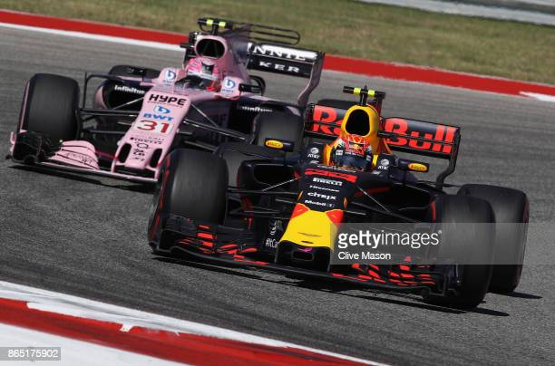 Max Verstappen of the Netherlands driving the Red Bull Racing Red BullTAG Heuer RB13 TAG Heuer leads Esteban Ocon of France driving the Sahara Force...