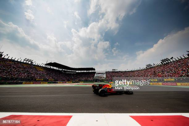Max Verstappen of the Netherlands driving the Red Bull Racing Red BullTAG Heuer RB13 TAG Heuer leads the race into the stadium section on the first...