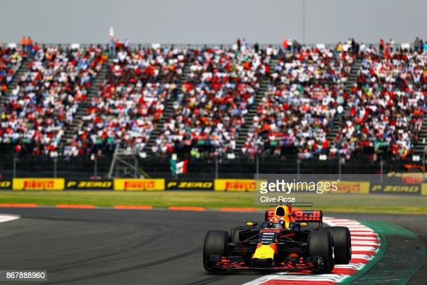 Max Verstappen of the Netherlands driving the Red Bull Racing Red BullTAG Heuer RB13 TAG Heuer on track during the Formula One Grand Prix of Mexico...