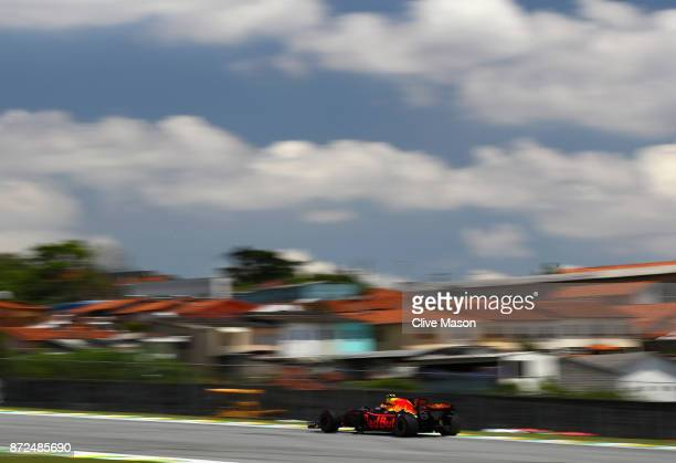 Max Verstappen of the Netherlands driving the Red Bull Racing Red BullTAG Heuer RB13 TAG Heuer on track during practice for the Formula One Grand...