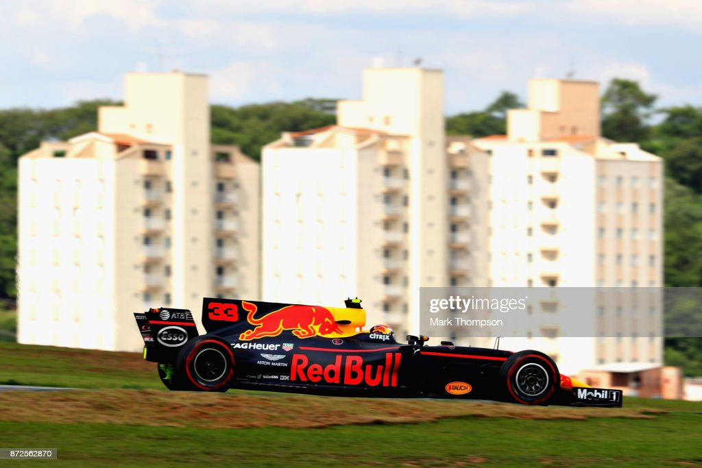 Max Verstappen of the Netherlands driving the (33) Red Bull Racing Red Bull-TAG Heuer RB13 TAG Heuer on track during practice for the Formula One Grand Prix of Brazil at Autodromo Jose Carlos Pace on November 10, 2017 in Sao Paulo, Brazil.