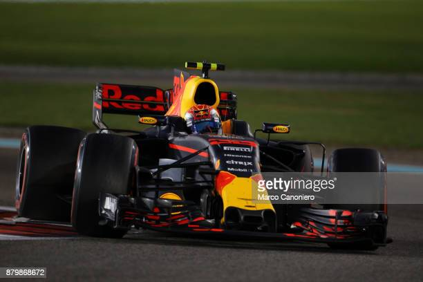 Max Verstappen of the Netherlands driving the Red Bull Racing Red BullTAG Heuer RB13 TAG Heuer on track during the Abu Dhabi Formula One Grand Prix