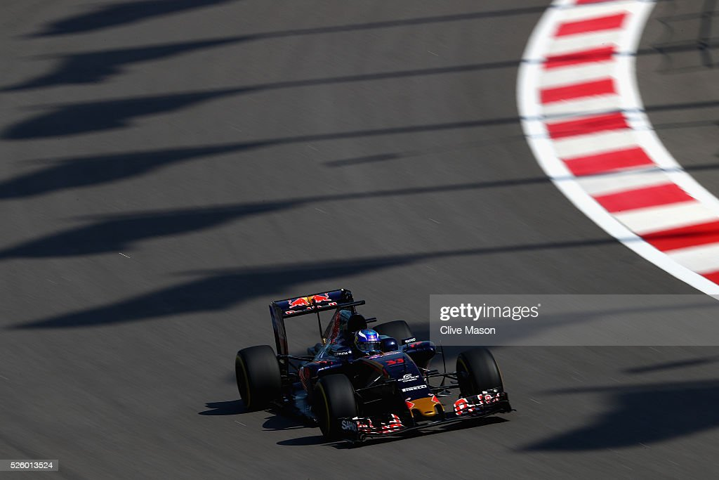 Max Verstappen of the Netherlands driving the (33) Scuderia Toro Rosso STR11 Ferrari 060/5 turbo on track during practice for the Formula One Grand Prix of Russia at Sochi Autodrom on April 29, 2016 in Sochi, Russia.