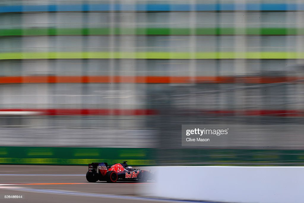 <a gi-track='captionPersonalityLinkClicked' href=/galleries/search?phrase=Max+Verstappen&family=editorial&specificpeople=12813205 ng-click='$event.stopPropagation()'>Max Verstappen</a> of the Netherlands driving the (33) Scuderia Toro Rosso STR11 Ferrari 060/5 turbo on track during final practice ahead of the Formula One Grand Prix of Russia at Sochi Autodrom on April 30, 2016 in Sochi, Russia.