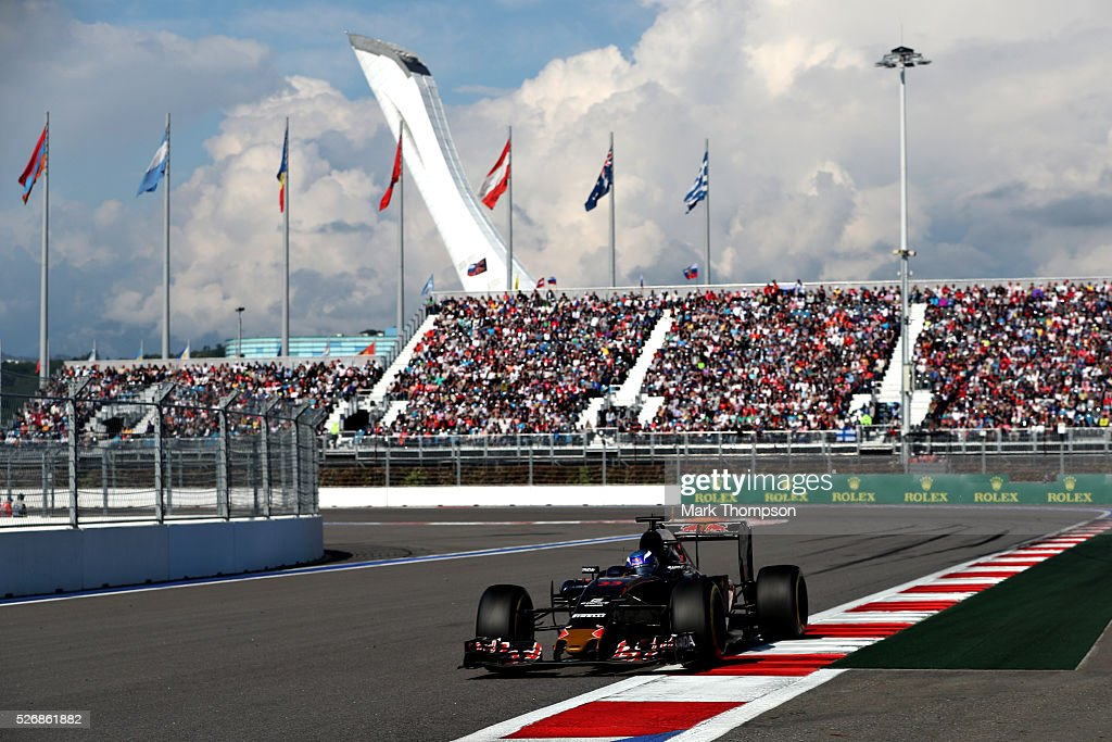 Max Verstappen of the Netherlands driving the (33) Scuderia Toro Rosso STR11 Ferrari 060/5 turbo on track during the Formula One Grand Prix of Russia at Sochi Autodrom on May 1, 2016 in Sochi, Russia.
