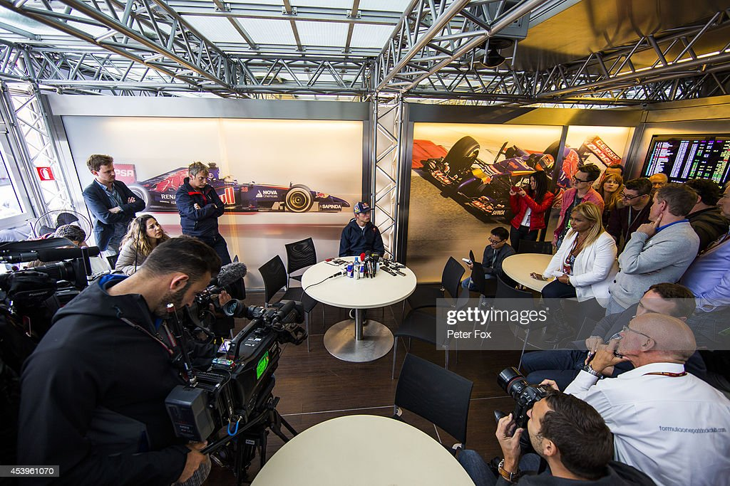 Max Verstappen of The Netherlands gives his first press conference as a 2015 Toro Rosso driver following practice for the Belgium F1 Grand Prix at Circuit de Spa-Francorchamps on August 22, 2014 in Spa, Belgium.