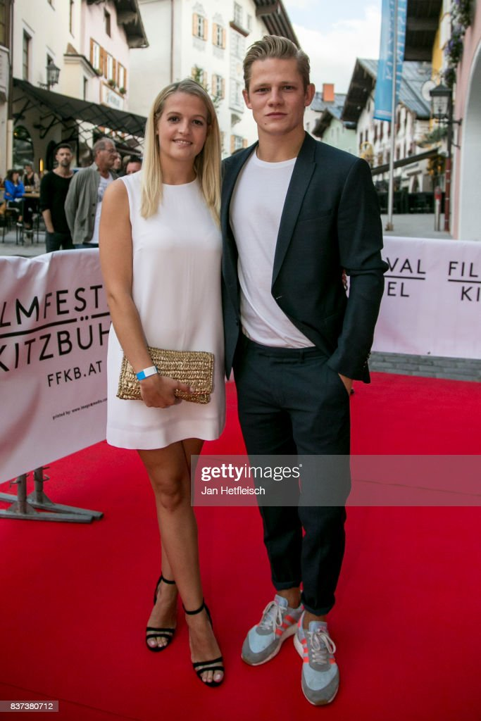 Max von der Groeben and his girlfriend Alexandra Ortmair pose for a picture during the 'Inconvenient Sequel' premiere and opening night of the Kitzbuehel Film Festival 2017 (Kitzbuehel Filmfest) at Filmtheater Kitzbuehel on August 22, 2017 in Kitzbuehel, Austria.
