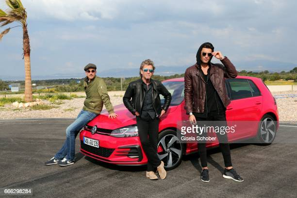 Max von Thun Peter Maffay and Toni Mahfud during the international driving presentation of the new Volkswagen Golf electric car on April 6 2017 at...
