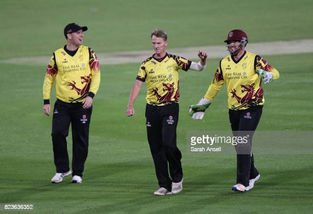 Max Waller of Somerset | celebrates with teamates Jim Allenby and wicket keeper Steven Davies after dismissing Daniel BellDrummond of Kent Spitfires...