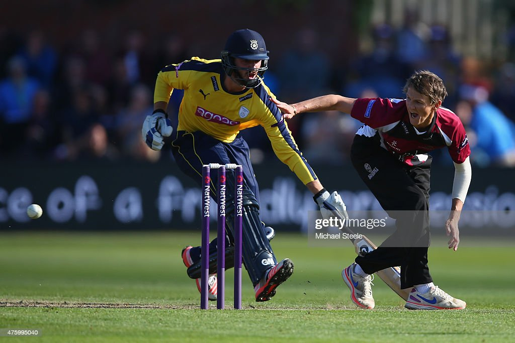 Max Waller of Somerset misses the wickets as he attemts to run out James Vince of Hampshire during the NatWest T20 Blast match between Somerset and...