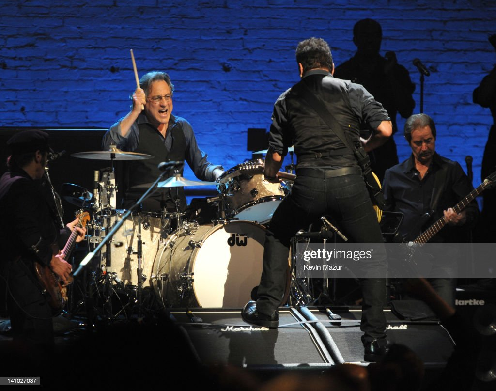 Max Weinberg and Bruce Springsteen perform during SiriusXM's celebration of 10 years of satellite radio with a concert by Bruce Springsteen and The E...
