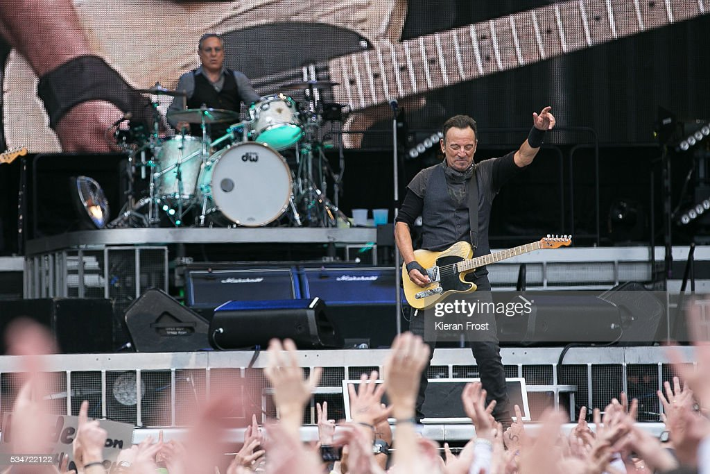Max Weinberg and Bruce Springsteen performs with the E Street Band at Croke Park Stadium on May 27, 2016 in Dublin, Ireland.