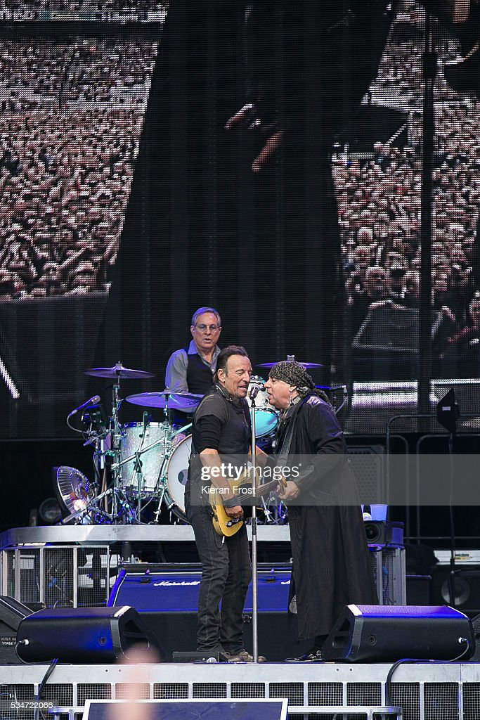 Max Weinberg, Bruce Springsteen and Steven Van Zandt performs with the E Street Band at Croke Park Stadium on May 27, 2016 in Dublin, Ireland.