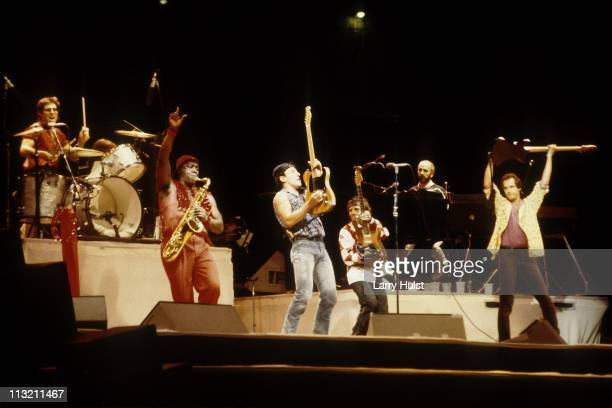 Max Weinberg Clarence Clemons Bruce Springsteen Nils Lofgren Danny Federici and Garry Tallent of Bruce Springsteen and the E Street band perform at...