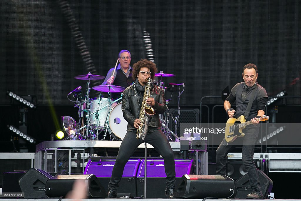 <a gi-track='captionPersonalityLinkClicked' href=/galleries/search?phrase=Max+Weinberg&family=editorial&specificpeople=1059983 ng-click='$event.stopPropagation()'>Max Weinberg</a>, Jake Clemons and <a gi-track='captionPersonalityLinkClicked' href=/galleries/search?phrase=Bruce+Springsteen&family=editorial&specificpeople=123832 ng-click='$event.stopPropagation()'>Bruce Springsteen</a> performs with the E Street Band at Croke Park Stadium on May 27, 2016 in Dublin, Ireland.
