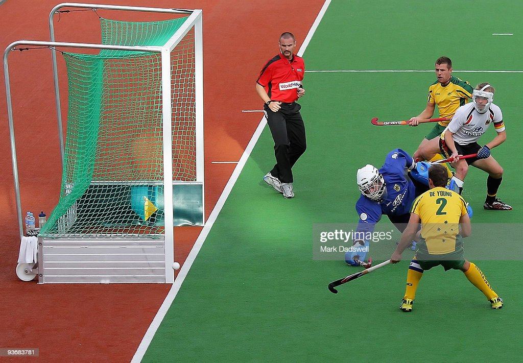 Max Weinhold of Germany saves a penalty corner in the match between Germany and Australia during day four of the 2009 Hockey Champions Trophy on...