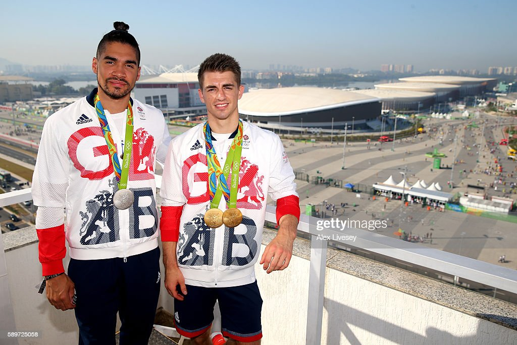 Max Whitlock and Louis Smith of Great Britain pose for photographs with their medals in front of the Olympic Park on day 10 of the Rio 2016 Olympic...