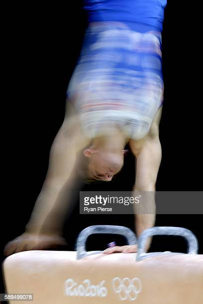 Max Whitlock of Great Britain competes in the Men's Pommel Horse Final on Day 9 of the Rio 2016 Olympic Games at the Rio Olympic Arena on August 14...