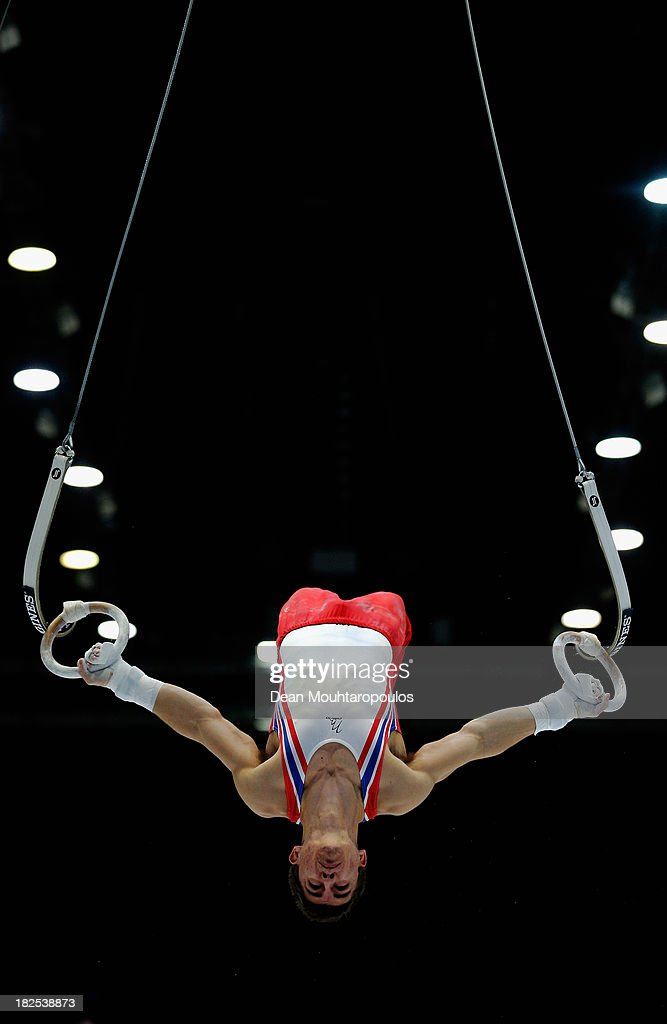 <a gi-track='captionPersonalityLinkClicked' href=/galleries/search?phrase=Max+Whitlock&family=editorial&specificpeople=7229884 ng-click='$event.stopPropagation()'>Max Whitlock</a> of Great Britain competes in the Rings Qualification on Day One of the Artistic Gymnastics World Championships Belgium 2013 held at the Antwerp Sports Palace on September 30, 2013 in Antwerpen, Belgium.