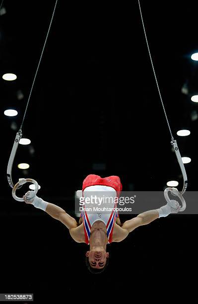 Max Whitlock of Great Britain competes in the Rings Qualification on Day One of the Artistic Gymnastics World Championships Belgium 2013 held at the...