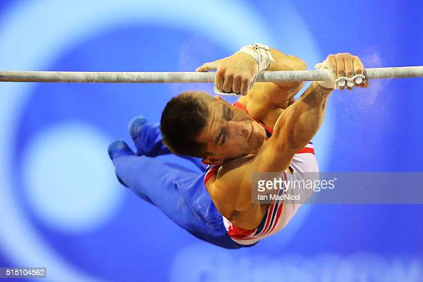 Max Whitlock of Great Britain competes on the High Bar during the 2016 FIG Artistic World Cup at The Emirates Arena on March 12 2016 in Glasgow...