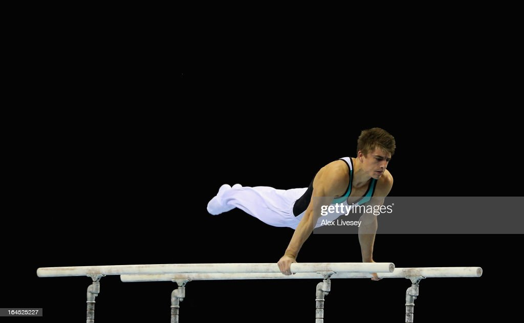 <a gi-track='captionPersonalityLinkClicked' href=/galleries/search?phrase=Max+Whitlock&family=editorial&specificpeople=7229884 ng-click='$event.stopPropagation()'>Max Whitlock</a> of South Essex competes in the Parallel Bars in the Men's Masters event at the Men's and Women's British Gymnastics Championships at the Echo Arena on March 24, 2013 in Liverpool, England.