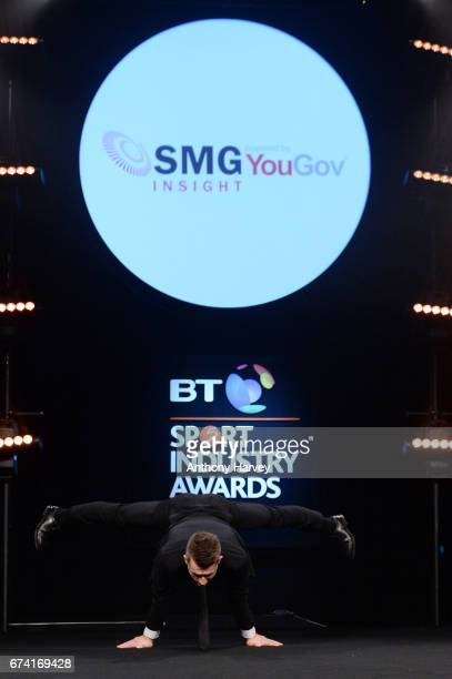 Max Whitlock performs as he presents the International Marketing Campaign of the Year award in association with SMG Insight during the BT Sport...