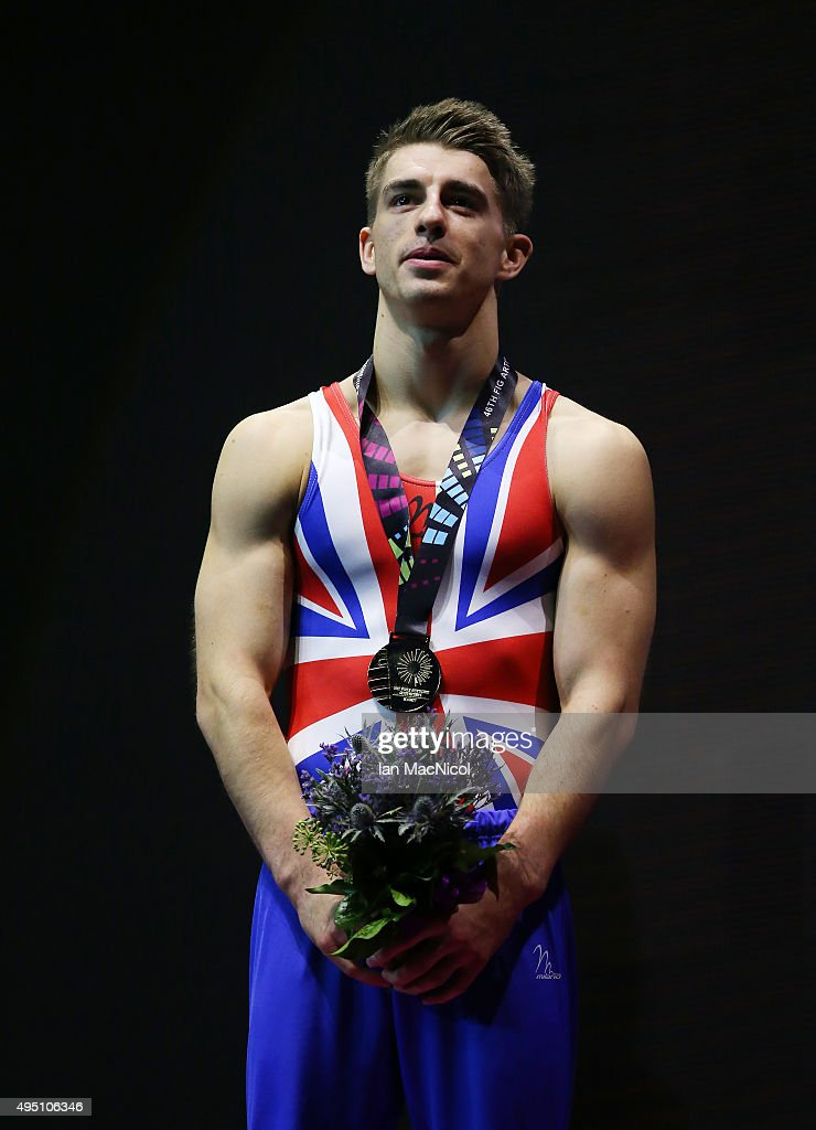Max Whittlock of Great Britain poses with his gold medal from the Pommel during day nine of World Artistic Gymnastics Championships at The SSE Hydro on October 31, 2015 in Glasgow, Scotland.