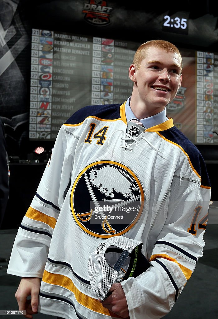 Max Willman meets his team after being drafted #121 by the Buffalo Sabres on Day Two of the 2014 NHL Draft at the Wells Fargo Center on June 28, 2014 in Philadelphia, Pennsylvania.
