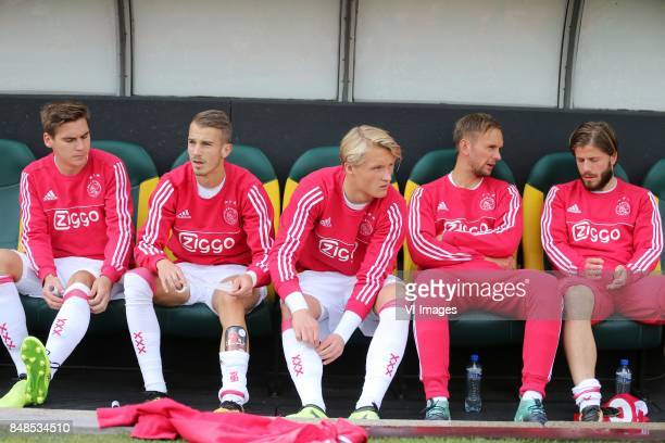Max Wober of Ajax Vaclav Cerny of Ajax Kasper Dolberg of Ajax Siem de Jong of Ajax Lasse Schone of Ajax during the Dutch Eredivisie match between ADO...