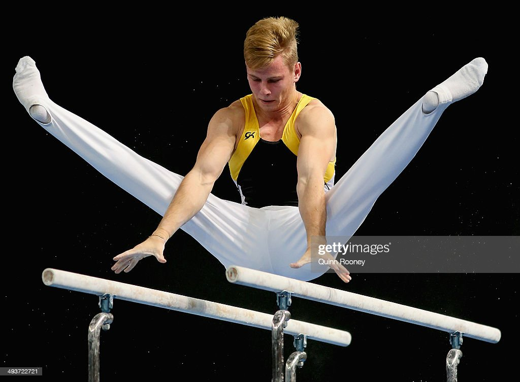 Max Woloszyn of Western Australia competes on the Parallel Bars during the Australian National Gymnastics Championships at Hisense Arena on May 25...