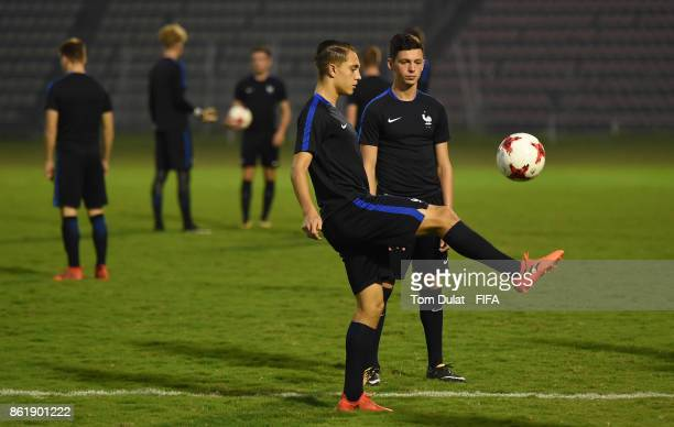 Maxence Caqueret of France kicks the ball during a training session ahead of the FIFA U17 World Cup India 2017 tournament on October 16 2017 in...