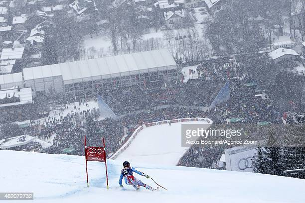 Maxence Muzaton of France competes during the Audi FIS Alpine Ski World Cup Men's Downhill on January 24 2015 in Kitzbuehel Austria