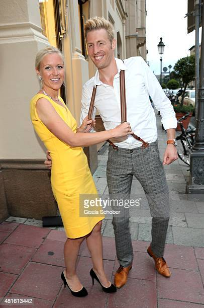 Maxi Arland and his wife Andrea Arland during the Eclat Dore summer party at Hotel Vier Jahreszeiten on July 22 2015 in Munich Germany