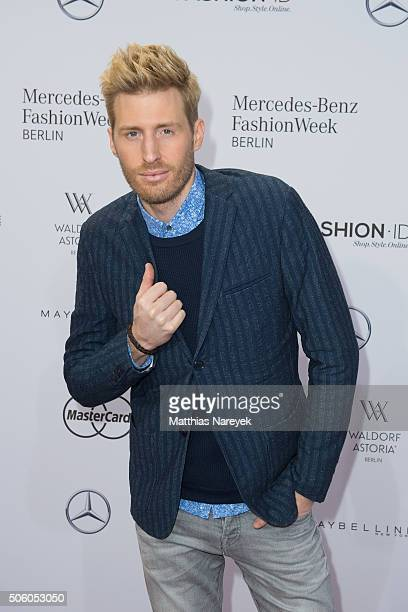 Maxi Arland attends the Ewa Herzog show during the MercedesBenz Fashion Week Berlin Autumn/Winter 2016 at Brandenburg Gate on January 21 2016 in...