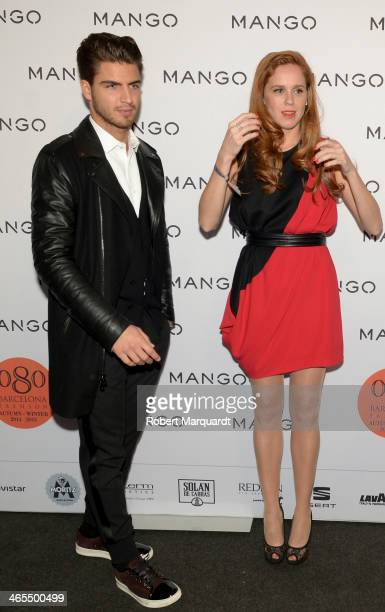 Maxi Iglesias and Maria Castro pose during a photocall for the Mango Fashion show held at the Born Centre Cultural on January 27 2014 in Barcelona...