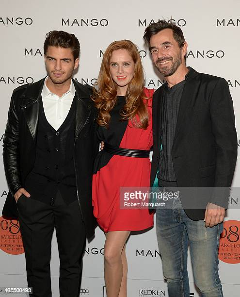 Maxi Iglesias Maria Castro and Sant Millan pose during a photocall for the Mango Fashion show held at the Born Centre Cultural on January 27 2014 in...