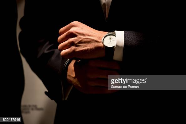 Maxi Iglesias poses with Paul hewitt watch during the Paul Hewitt show at Castilla Y Leon Fashion Week 2016 2016 at MEH november 8 2016 in Burgos...