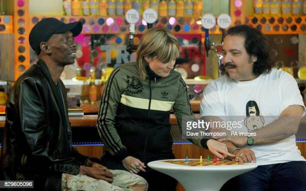 Maxi Jazz and Sister Bliss of Faithless with adult film star Ron Jeremy ahead of their guest appearance on MTV's TRL Total Request Live show