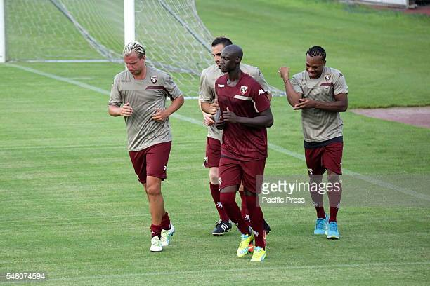 Maxi Lopez Alfred Gomis and Joel Chukwuma Obi during the first training of Torino FC of the season 20162017