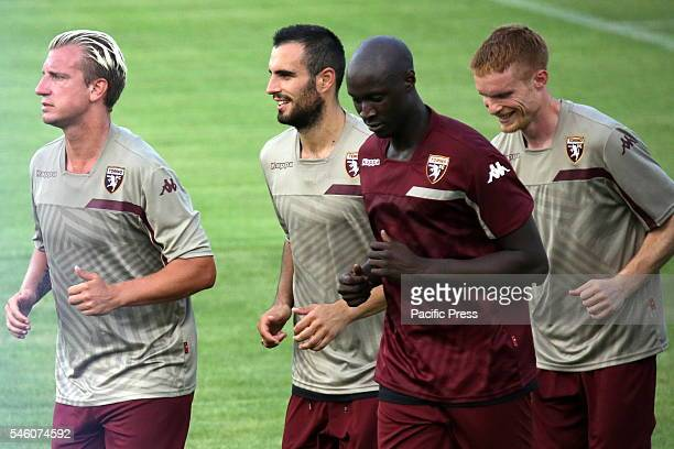 Maxi Lopez Davide Zappacosta Alfred Gomis and Alessandro Gazzi during the first training of Torino FC of the season 20162017