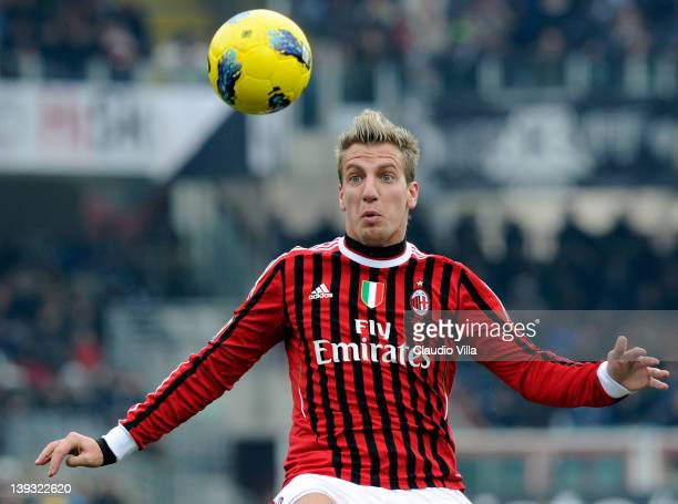 Maxi Lopez of AC Milan looks to control the ball during the Serie A match between AC Cesena and AC Milan at Dino Manuzzi Stadium on February 19 2012...