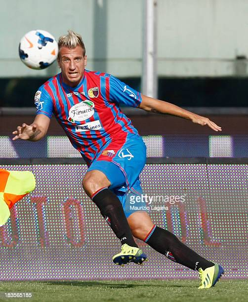 Maxi Lopez of Catania during the Serie A match between Calcio Catania and AC Chievo Verona at Stadio Angelo Massimino on September 29 2013 in Catania...