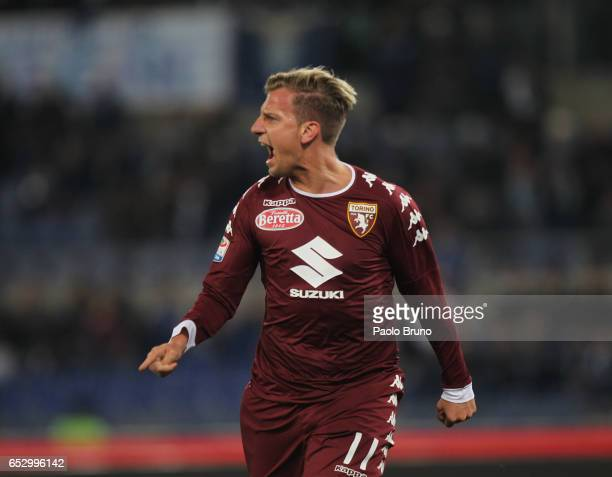 Maxi Lopez of FC Torino celebrates after scoring the team's first goal during the Serie A match between SS Lazio and FC Torino at Stadio Olimpico on...