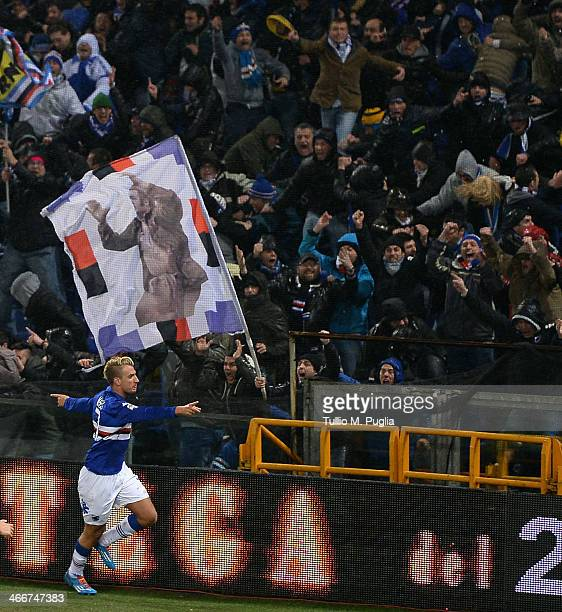 Maxi Lopez of Sampdoria celebrates after scoring the opening goal during the Serie A match between Genoa CFC and UC Sampdoria at Stadio Luigi...